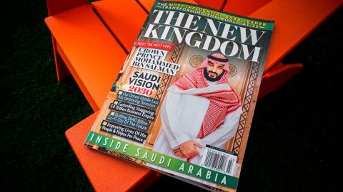 A glossy magazine about Saudi Arabia is photographed in Washington, Monday April 23, 2018. The mystery behind the origins of a the pro-Saudi magazine that showed up on U.S. newsstands is growing amid revelations that the Saudi Embassy in Washington got a sneak peek. The Associated Press has obtained files showing that a digital copy was quietly shared with Saudi officials by American Media Inc. almost three weeks before it was published, despite both parties' insistence that they didn't coordinate on the magazine. (AP Photo/J. David Ake)