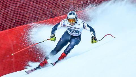 US skier Thomas Biesemeyer leaves a spray of snow behind him as he cuts inside.