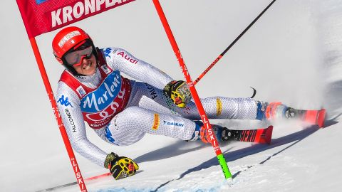 Italy's Federica Brignone competes in the women's giant slalom at Kronplatz.
