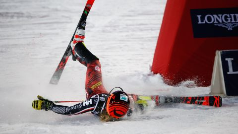 Canada's Erin Mielzynski ends up on her back during the women's slalom in Zagreb.