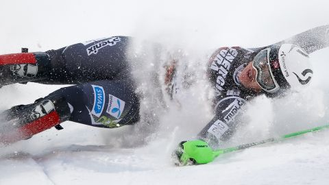 Norway's Mina Fuerst Holtmann crashes out in Zagreb's women's slalom.