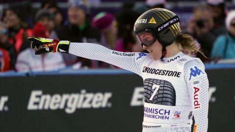 Italy's Sofia Goggia celebrates finishing second in the women's downhill in Garmisch.