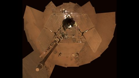 The rover took a selfie to show how much dust it had accumulated in 2011 before the windy season helped knock some of it off.