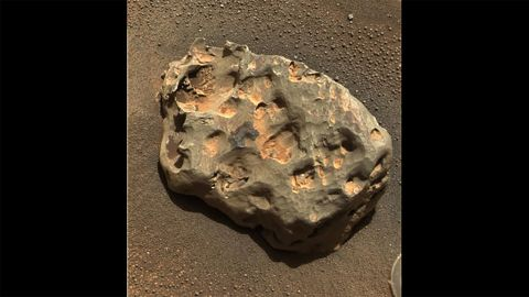 This iron meteorite was the first meteorite of any type ever found on another planet. The basketball-sized meteorite is rich in iron and nickel, and Opportunity found it in 2005.
