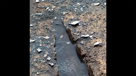 """These pointy features were called """"Razorback."""" They're only a few centimeters tall, but the chunks of rock were found sticking up at the edge of flat rocks in Endurance Crater. They may have formed when fluids moved through rock fractures."""