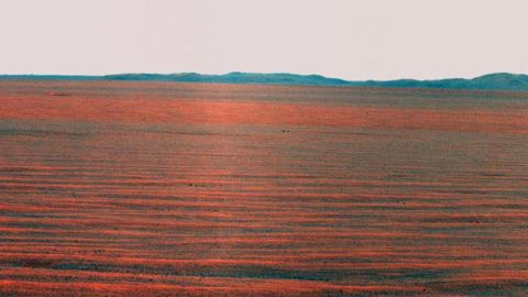 In 2010, Opportunity took this panorama of the eastward horizon view of Endeavour Crater's rim.