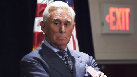 Roger Stone, ally of US President Donald Trump, pauses while he speaks to the press in Washington, DC, on January 31, 2019. - Stone pleaded not guilty on January 29 to charges stemming from the ongoing investigation into whether the US president's campaign colluded with Russia in the 2016 election. (Photo by Andrew CABALLERO-REYNOLDS / AFP)        (Photo credit should read ANDREW CABALLERO-REYNOLDS/AFP/Getty Images)