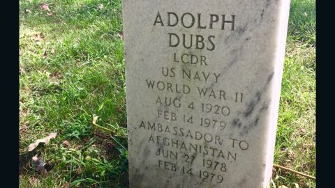 """Adolph """"Spike"""" Dubs' headstone at Arlington National Cemetery."""