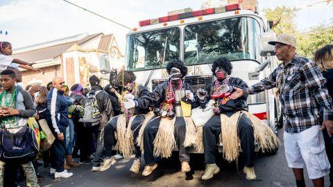 Zulu members parade on Mardi Gras in 2018 in New Orleans.