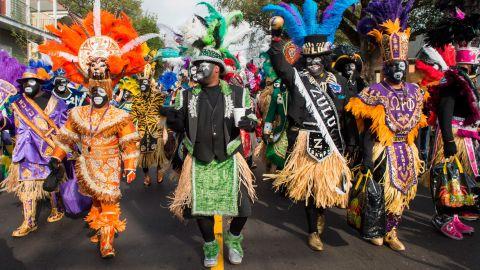 Zulu Social Aid & Pleasure Club members celebrate Mardi Gras in 2017 in New Orleans.