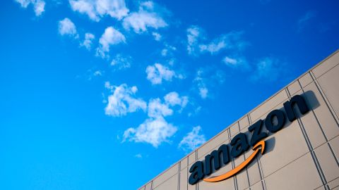 This photo shows the Amazon logo at the 855,000-square-foot Amazon fulfillment center in Staten Island, one of the five boroughs of New York City, on February 5, 2019. - Inside a huge warehouse on Staten Island thousands of robots are busy distributing thousands of items sold by the giant of online sales, Amazon. (Photo by Johannes EISELE / AFP)        (Photo credit should read JOHANNES EISELE/AFP/Getty Images)