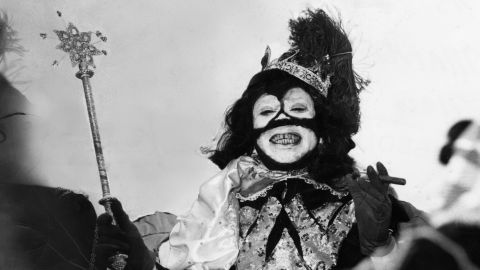 Louis Armstrong reigns as King Zulu in 1949.