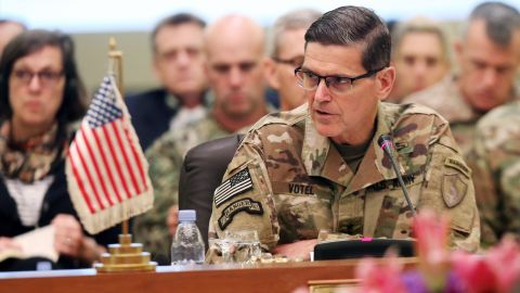 Commander of United States Central Command Joseph Leonard Votel (R), speaks during a meeting with the Gulf cooperation council's armed forces chiefs of staff in Kuwait City on September 12, 2018. - Gulf Arab army chiefs, including Qatar's military commander, are meeting with US Central Command officials for talks on defence cooperation. (Photo by Yasser Al-Zayyat / AFP)        (Photo credit should read YASSER AL-ZAYYAT/AFP/Getty Images)