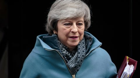LONDON, ENGLAND - FEBRUARY 13: British Prime Minister Theresa May leaves Number 10 Downing Street for Prime Minister's Questions in Parliament on February 13, 2019 in London, England. (Photo by Jack Taylor/Getty Images)