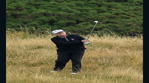 U.S. President Donald Trump plays a round of golf at Trump Turnberry Luxury Collection Resort during the U.S. President's first official visit to the United Kingdom on July 15, 2018 in Turnberry, Scotland.