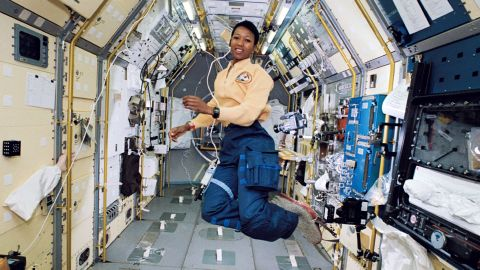 Mae Carol Jemison is an American engineer, physician and NASA astronaut. She became the first African American woman to travel in space when she went into orbit aboard the Space Shuttle Endeavour on September 12, 1992. Credit: NASA