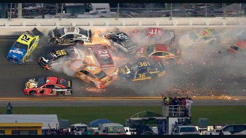 A huge crash disrupted the 61st Daytona 500 race.
