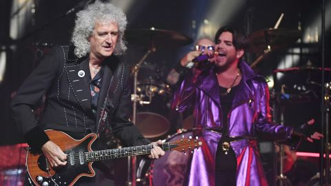 """Guitarist Brian May (L) and singer Adam Lambert of Queen + Adam Lambert perform as the group kicks off its 10-date limited engagement, """"The Crown Jewels,"""" at Park Theater at Park MGM on September 1, 2018 in Las Vegas, Nevada."""