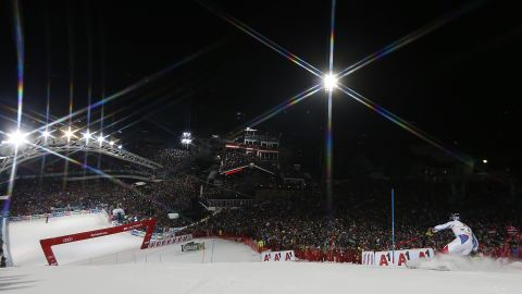 Alexis Pinturault takes second place at night during the men's slalom in Schladming.