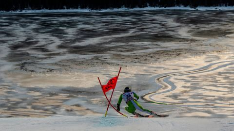 Slovenia's Stefan Hadalin competes in the first run of the men's giant slalom at the World Championships in Are.