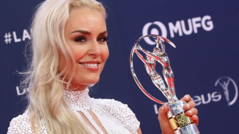 US skier Lindsey Vonn, winner of the Laureus Spirt of Sport Award 2019 poses with her award at the 2019 Laureus World Sports Awards ceremony at the Sporting Monte-Carlo complex in Monaco on February 18, 2019. (Photo by Valery HACHE / AFP)        (Photo credit should read VALERY HACHE/AFP/Getty Images)