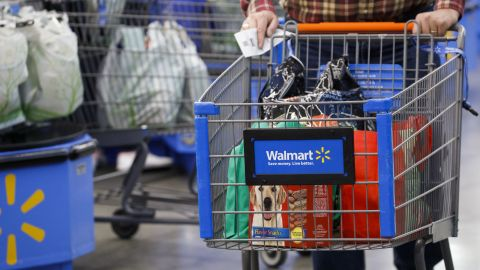 A customer pushes a shopping cart after at a Walmart Inc. store in Burbank, California, U.S., on Monday, Nov. 19, 2018.