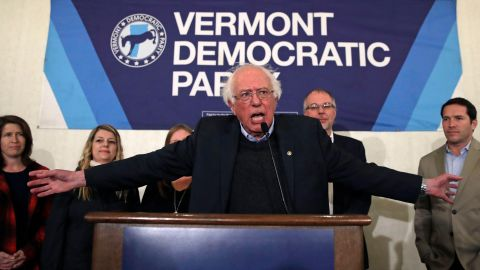 Sanders thanks supporters after winning re-election to the Senate in November 2018.