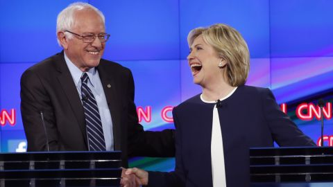 """<a href=""""http://www.cnn.com/2015/10/13/politics/gallery/democratic-debate-las-vegas/index.html"""" target=""""_blank"""">Sanders shakes hands with Hillary Clinton</a> at a Democratic debate in Las Vegas in October 2015. The hand shake came after Sanders' take on <a href=""""http://www.cnn.com/2015/09/03/politics/hillary-clinton-email-controversy-explained-2016/index.html"""" target=""""_blank"""">the Clinton email scandal.</a> """"Let me say something that may not be great politics, but the secretary is right -- and that is that the American people are sick and tired of hearing about the damn emails,"""" Sanders said. """"Enough of the emails, let's talk about the real issues facing the United States of America."""""""