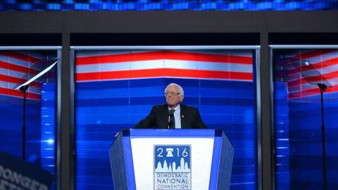 "Sanders <a href=""http://www.cnn.com/2016/07/25/politics/bernie-sanders-democratic-national-convention-speech/"" target=""_blank"">addresses delegates</a> on the first day of the Democratic National Convention in July 2016."