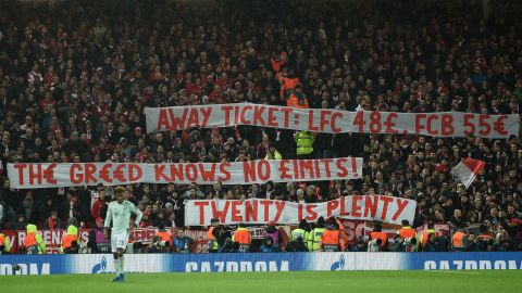 Bayern fans protest against ticket prices during the game at Anfield.