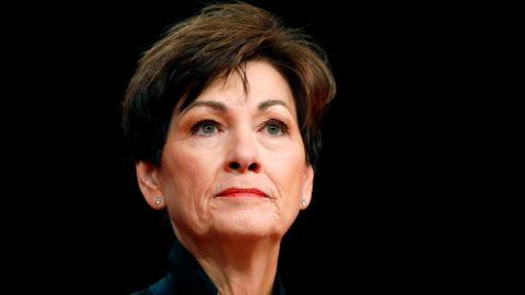 """FILE - In this Jan. 18, 2018, file photo, Iowa Gov. Kim Reynolds delivers her inaugural address in Des Moines, Iowa. Reynolds said Monday, Feb. 18, 2019, she decided against appealing a judge's ruling last month that struck down Iowa's """"fetal heartbeat"""" abortion law, which would have been the most restrictive anti-abortion law in the nation. (AP Photo/Charlie Neibergall, File)"""