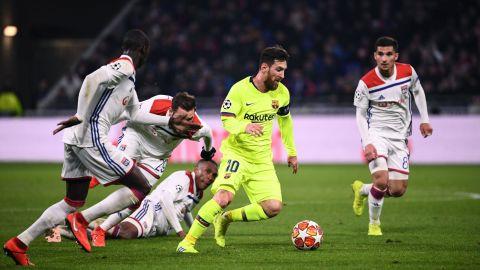 Barcelona's Lionel Messi endured a frustrating night against Lyon.