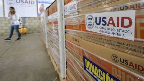 """View of humanitarian aid for Venezuela inside a warehouse at the Tienditas International Bridge in Cucuta, Colombia, on the border with Venezuela, on February 19, 2019. - US President Donald Trump on Monday urged Venezuela's military to accept opposition leader Juan Guaido's amnesty offer, or stand to """"lose everything,"""" as a crisis deepened over President Nicolas Maduro's refusal to let in desperately needed humanitarian aid. (Photo by Luis ROBAYO / AFP)        (Photo credit should read LUIS ROBAYO/AFP/Getty Images)"""