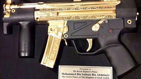 Pakistani senators gave Saudi Crown Prince Muhammad Bin Salman a portrait of himself and a gold plated MP5 gun.