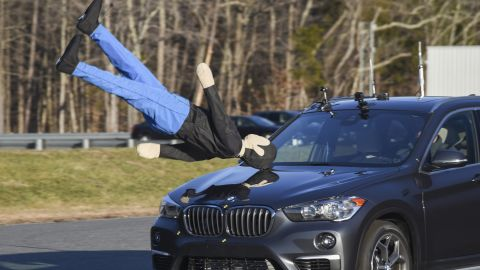 The BMW X1's crash avoidance system failed to respond to a mannequin moving as if walking along the side of the road.
