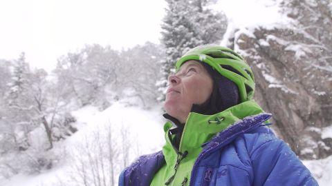 Margo Talbot teaching an ice climbing clinic in Ouray, Colorado.