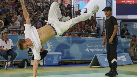 Russia's b-boy Bumblebee (L) won men's gold at the 2018 Youth Olympics.