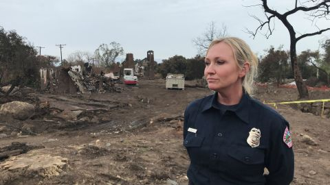 Montecito Fire Department supervisor Maeve Juarez in front of the devastation left behind by the January 9, 2018 mudslide.