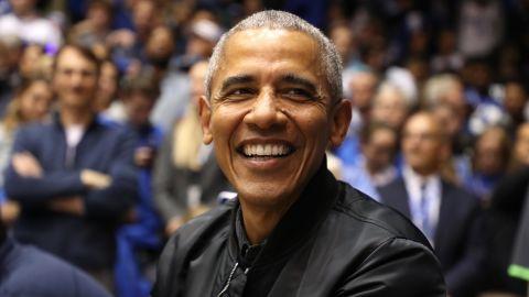 Barack Obama watches on at Cameron Indoor Stadium in North Carolina.
