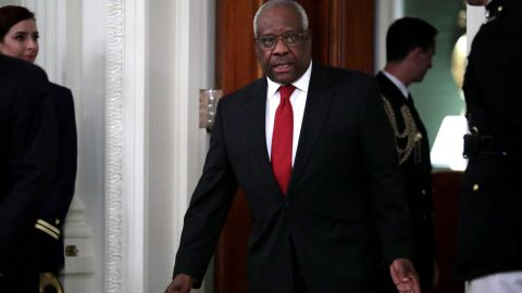 WASHINGTON, DC - OCTOBER 08: U.S. Supreme Court Associate Justice Clarence Thomas arrives for the ceremonial swearing in of Associate Justice Brett Kavanaugh in the East Room of the White House October 08, 2018 in Washington, DC. Kavanaugh was confirmed in the Senate 50-48 after a contentious process that included several women accusing Kavanaugh of sexual assault. Kavanaugh has denied the allegations. (Photo by Chip Somodevilla/Getty Images)