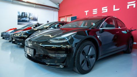 14 February 2019, Hessen, Frankfurt/Main: Tesla Model 3 are located in a Tesla Service Center in Frankfurt. Photo: Silas Stein/dpa (Photo by Silas Stein/picture alliance via Getty Images)
