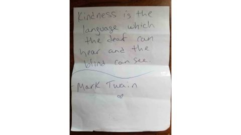 One of many inspirational notes Kelly Stewart has written to her customers. This one quotes Mark Twain.