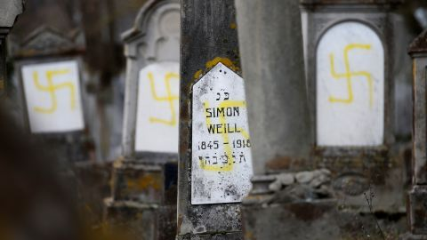 Graves at the Jewish cemetery in Quatzenheim, near Strasbourg, France, have been desecrated with swastikas.