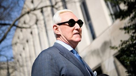 Roger Stone arrives at US District Court in Washington, DC on February 21, 2019.  (Photo by Brendan Smialowski / AFP)