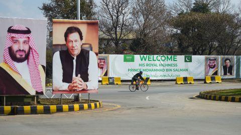 Billboards show  portraits of Saudi Arabian Crown Prince Mohammed bin Salman and Pakistan's Prime Minister Imran Khan ahead of his arrival in Islamabad on February 15, 2019.
