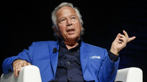 CANNES, FRANCE - JUNE 23:  Founder, Chairman and CEO of the Kraft Group Robert Kraft speaks during the Cannes Lions Festival 2017 on June 23, 2017 in Cannes, France.  (Photo by Richard Bord/Getty Images for Cannes Lions)