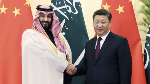 Saudi Crown Prince Mohammad bin Salman, left, with Chinese President Xi Jinping before their meeting at the Great Hall of the People in Beijing.