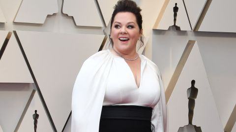 Best actress nominee Melissa McCarthy was one of several actresses, along with Elsie Fisher and Awkwafina, who wore powerful-looking pantsuits on the red carpet. McCarthy wore a black and white ensemble by Brandon Maxwell, complete with a flowing white cape.