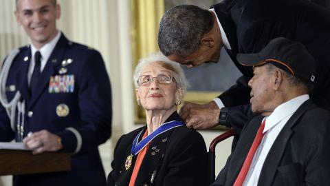 President Barack Obama gives the Presidential Medal of Freedom to Katherine Johnson in 2015.