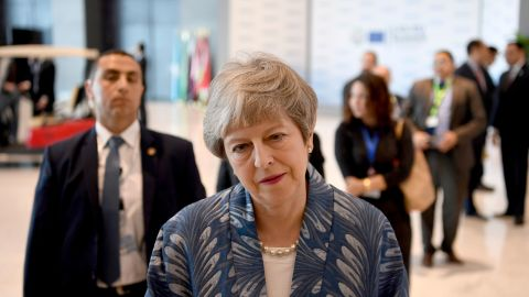 British Prime Minister Theresa May speaks to the press during the first joint European Union and Arab League summit at the International Congress Centre in the Egyptian Red Sea resort of Sharm el-Sheikh, on February 24, 2019. (Photo by Khaled DESOUKI / AFP)        (Photo credit should read KHALED DESOUKI/AFP/Getty Images)